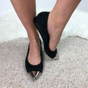 Donald J. Pliner Noelle black suede metallic toe